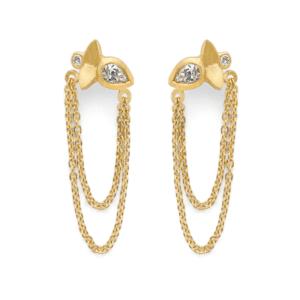 Lotus Chain Drop Earrings
