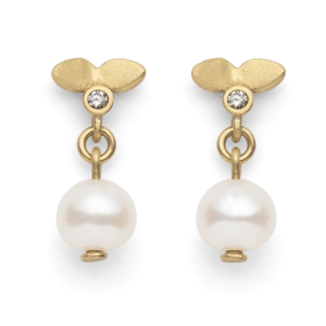 Lotus Pearl Drop Stud Earrings