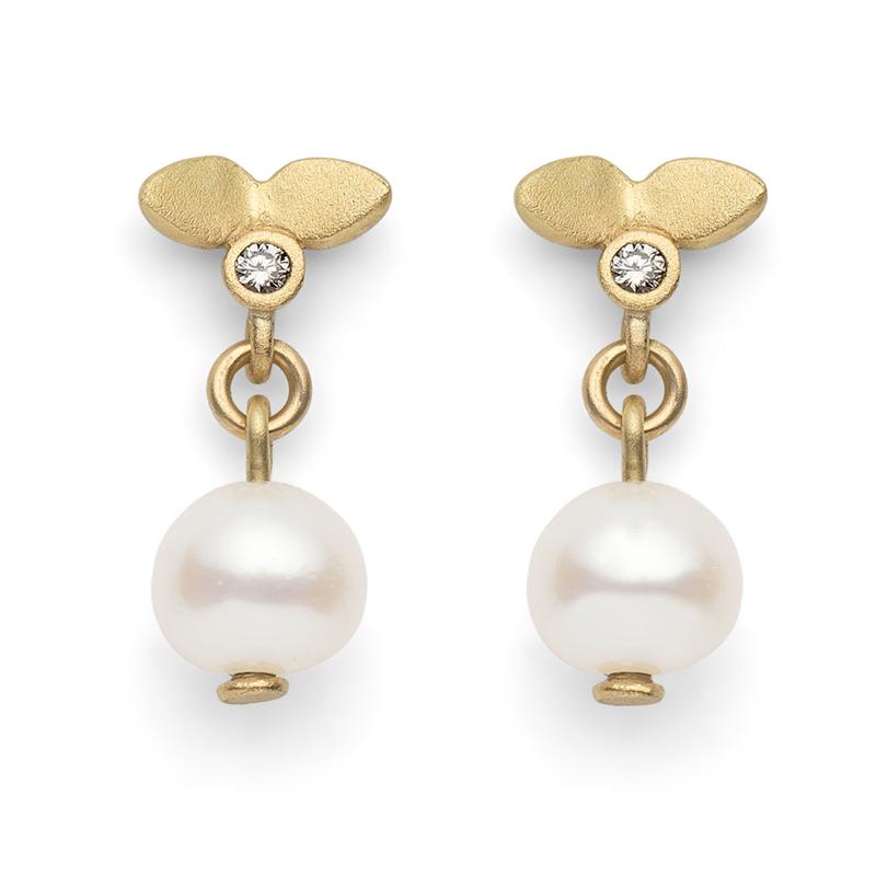 Lotus Pearl Drop Stud Earrings