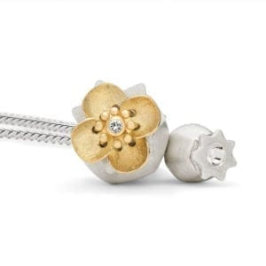 Poppy Locket Silver Open