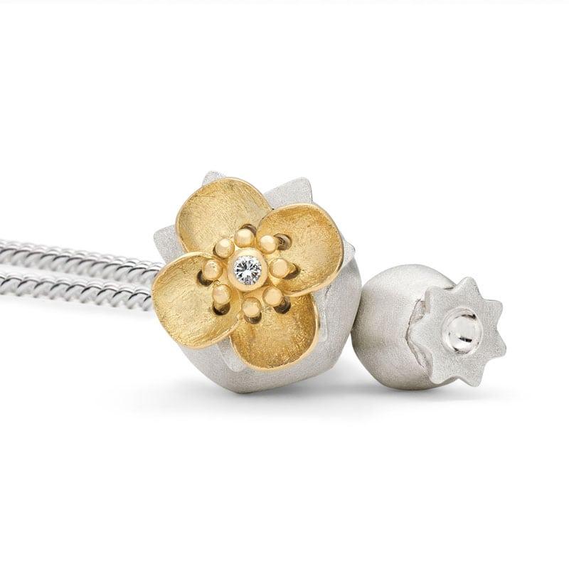 Kinetic, Silver Poppy Locket Necklace   Handmade by Victoria Walker