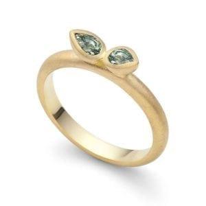 Gold Ring Gem Leaf